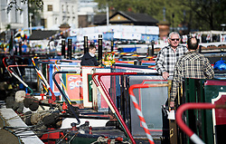 © Licensed to London News Pictures. 05/05/2018. London, UK. Canalway Cavalcade festival takes place in Little Venice, West London on Saturday,  May 5th 2018. Inland Waterways Association's annual gathering of canal boats brings around 130 decorated boats together in Little Venice's canals on May bank holiday weekend. Photo credit: Ben Cawthra/LNP