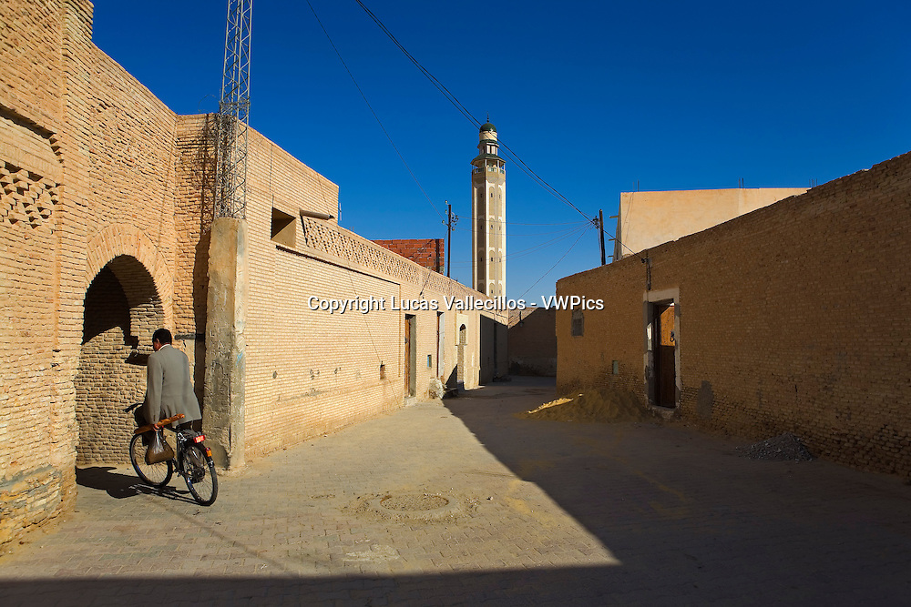 Tunisia.Tozeur. Medina. In background mosque Sidi Abdallah Bou Jemra