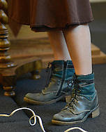 Julie Seltzer's boots are seen as she speaks about writing the Torah at Kehilat Hanahar Little Shul by the River Wednesday September 16, 2015 in New Hope, Pennsylvania.  (Photo by William Thomas Cain)
