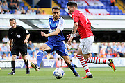 Ipswich Town midfielder Cole Skuse covers an attack by Barnsley midfielder Adam Hammill during the EFL Sky Bet Championship match between Ipswich Town and Barnsley at Portman Road, Ipswich, England on 6 August 2016. Photo by Nigel Cole.