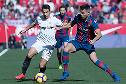 January 26, 2019 - Sevilla, Andalucia, Spain - Ben Yedder of Sevilla FC and Rober Pier of Levante UD competes for the ball during the La Liga match between Sevilla FC v Levante UD at the Ramon Sanchez Pizjuan Stadium on January 26, 2019 in Sevilla, Spain  (Credit Image: © Javier MontañO/Pacific Press via ZUMA Wire)