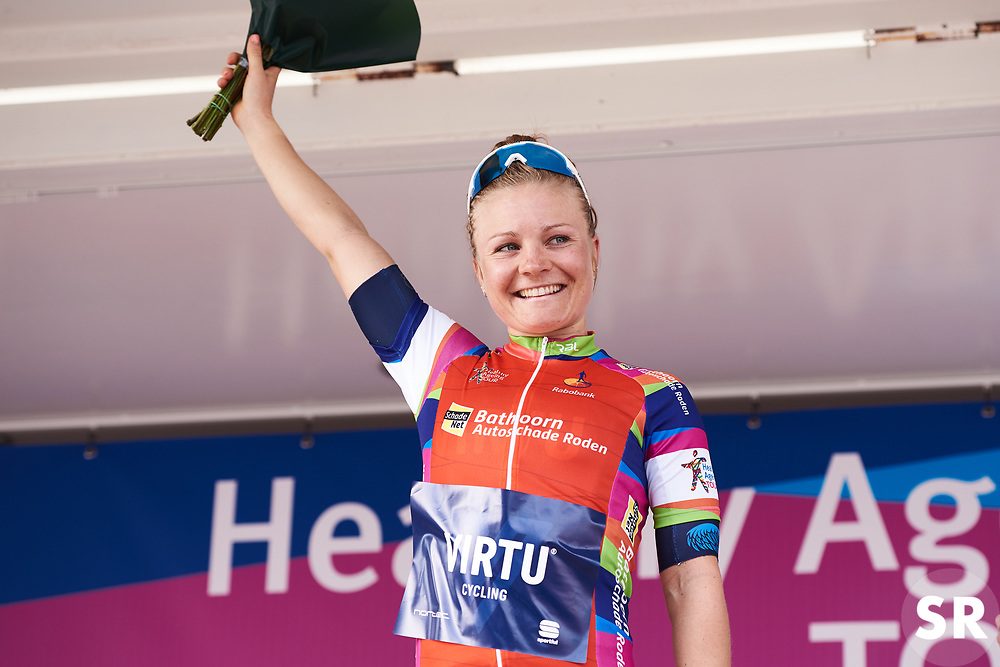 Emilie Moberg (NOR) awarded the most combative rider at Healthy Ageing Tour 2018 - Stage 4, a 143 km road race starting and finishing in Winsum on April 7, 2018. Photo by Sean Robinson/Velofocus.com