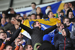 Cardiff city fan sings through the game. - Photo mandatory by-line: Alex James/JMP - Tel: Mobile: 07966 386802 08/02/2014 - SPORT - FOOTBALL - Swansea - Liberty Stadium - Swansea City v Cardiff City - Barclays Premier League