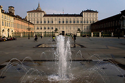 Turin/Piedmont/Italy - Piazza Castello. Castle square with Royal palace of Savoy kings.