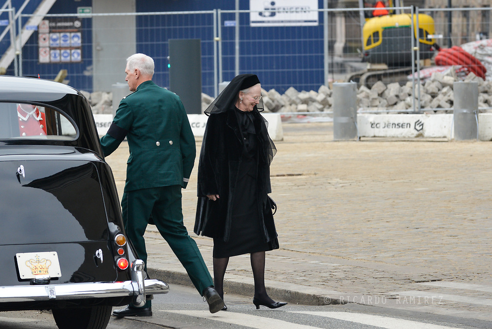 20.02.2018. Copenhagen, Denmark. <br /> Queen Margrethe's arrival to Christiansborg Palace Church. <br /> Photo: Ricardo Ramirez.