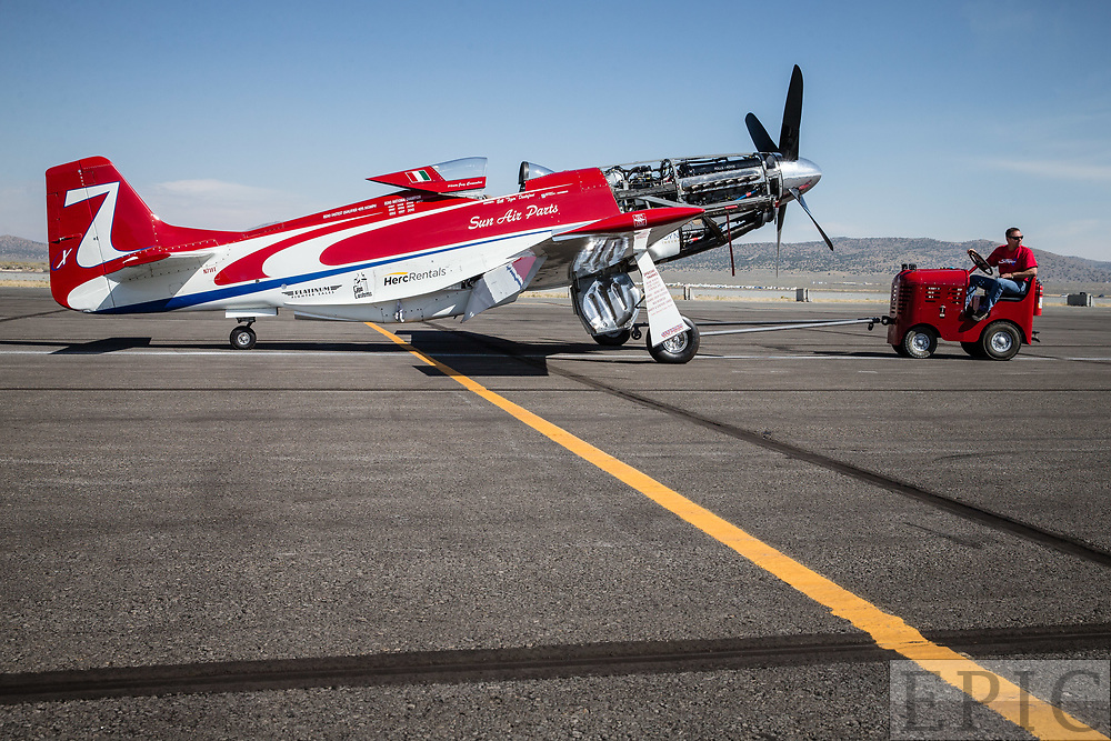 RENO, NV - SEPTEMBER 17: Unlimited gold class winning plane Strega gets towed onto the ramp before the final race at the Reno Championship Air Races on September 17, 2017 in Reno, Nevada. (Photo by Jonathan Devich/Getty Images) *** Local Caption ***