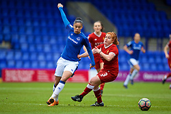 BIRKENHEAD, ENGLAND - Sunday, April 29, 2018: Liverpool's Martha Harris and Everton's Chantelle Boye-Hlorkah during the FA Women's Super League 1 match between Liverpool FC Ladies and Everton FC Ladies at Prenton Park. (Pic by David Rawcliffe/Propaganda)