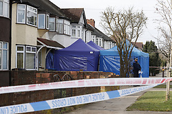 © Licensed to London News Pictures. 14/03/2018. London, UK. A police evidence tent still covers the drive of the house of Russian exile Nikolai Glushkov in south west London. Mr Glushkov, a friend of oligarch Boris Berezovsky, and a former deputy director of Russian state airline Aeroflot, died at his home in Monday night. Photo credit: Peter Macdiarmid/LNP