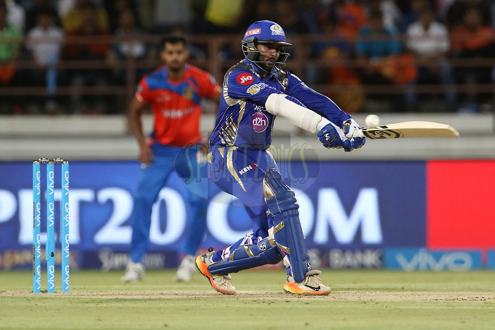 Parthiv Patel of the Mumbai Indians plays a shot during match 35 of the Vivo 2017 Indian Premier League between the Gujarat Lions and the Mumbai Indians  held at the Saurashtra Cricket Association Stadium in Rajkot, India on the 29th April 2017<br /> <br /> Photo by Vipin Pawar - Sportzpics - IPL
