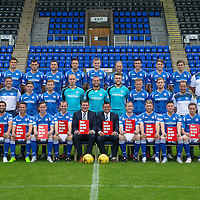 St Johnstone FC Photocall, 2015-16 Season....03.08.15<br /> Back row from left to right, Craig Maitland (Asst Physio), Ally Gilchrist, John Sutton, Graham Cummins, Tam Scobbie, Brad McKay, Brian Easton, Steven Anderson, Joe Shaughnessy, Gareth Rodger, Murray Davidson, George Browning (U20 GK Coach) and Ewan Peacock (Chief Scout)<br /> Middle row from left, Alex Headrick (Sports Science), Manny Fowler (Kit Manager), Steve Banks (GK Coach), Craig Thomson, Liam Caddis, Mark Hurst, Alan Mannus; Zander Clark, Scott Brown, Liam Craig, Alex Cleland (U20 Coach), Alistair Stevenson (Head of Youth Academy) and Scott Williams (Physio).<br /> Front row from left, Simon Lappin, Chris Millar, Steven MacLean, Dave Mackay (Captain), Tommy Wright (Manager), Callum Davidson (Asst Manager), Frazer Wright (Vice-Captain),David Wotherspoon, Michael O'Halloran and Chris Kane.<br /> Picture by Graeme Hart.<br /> Copyright Perthshire Picture Agency<br /> Tel: 01738 623350  Mobile: 07990 594431