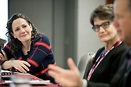 Booth Women Connect 2017 conference at the Hyatt Regency Chicago <br /> <br /> Breakout session &quot;Paying It Forward&quot; Pays Off: How Leveraging Board Service Can Work for You<br /> <br /> Moderator Christina Hachikian, left, and Maria Constantinides, Generalist, Nonprofit Organizations, middle, and Scott Humphrey, President and CEO, One Hope United<br /> <br /> (photo by Anne Ryan)