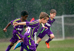 12 April 2015. Hammond, Louisiana.<br /> U9 New Orleans Jesters Elites, team purple play SYSC U9 Academy. Jesters emerge with an 8-1 victory in the third round of the Strawberry Cup hosted by the South Tangipahoa Youth Soccer Association (STYSA).<br /> Photo; Charlie Varley/varleypix.com