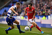 Nottingham Forest's Yuri Ribeiro (2) takes on Reading defender Michael Morrison (4) during the EFL Sky Bet Championship match between Reading and Nottingham Forest at the Madejski Stadium, Reading, England on 11 January 2020.