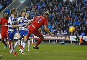 Blackburn Rovers striker, Jordan Rhodes fails to make enough contact on the ball and has to watch it bounce wide of the goal during the Sky Bet Championship match between Reading and Blackburn Rovers at the Madejski Stadium, Reading, England on 20 December 2015. Photo by Andy Walter.