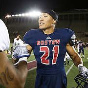 Emmanuel Moody #21 of the Boston Brawlers is seen on the field following the first ever Boston Brawlers home game at Harvard Stadium on October 24, 2014 in Boston, Massachusetts. (Photo by Elan Kawesch)