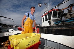 UK ENGLAND DEVON TEIGNMOUTH 10SEP16 - Fisherman  Brendon Hall (19) of Teignmouth land on his boat at Teignmouth harbour, Devon, England.<br /> <br /> jre/Photo by Jiri Rezac<br /> <br /> © Jiri Rezac 2016