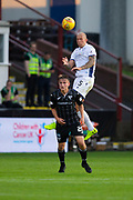 2nd Aug 2019, East End Park, Dunfermline, Fife, Scotland, Scottish Championship football, Dunfermline Athletic versus Dundee;  Jordon Forster of Dundee towers above Matthew Todd of Dunfermline Athletic