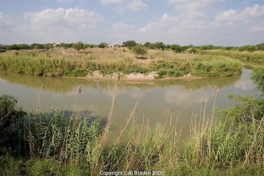 Rio Grande/Rio Bravo between Brownsville, Texas, USA and Mataoros, Tamaulipas, Mexico.