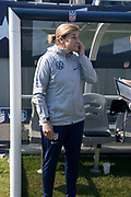 USA head coach Jill Ellis wipes away a tear in her final match before an international friendly soccer game against Korea Republic in Chicago, Sunday, Oct. 6, 2019, in Chicago. The team splayed to a 1-1 tie. (Max Siker/Image of Sport)