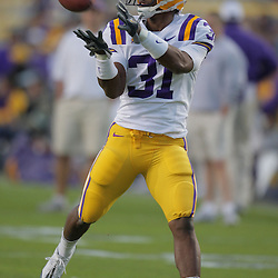Oct 31, 2009; Baton Rouge, LA, USA; LSU Tigers wide receiver John Williams (31) in warm ups prior to kickoff against the Tulane Green Wave at Tiger Stadium. LSU defeated Tulane 42-0. Mandatory Credit: Derick E. Hingle