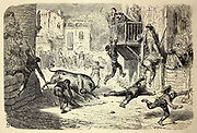 Une novillada de lugar (course de novillos dans un village) [race of steers in a village] Page illustration from the book 'L'Espagne' [Spain] by Davillier, Jean Charles, barón, 1823-1883; Doré, Gustave, 1832-1883; Published in Paris, France by Libreria Hachette, in 1874