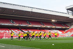 13.04.2016, Anfield Road, Liverpool, ENG, UEFA EL, FC Liverpool vs Borussia Dortmund, Viertelfinale, Rueckspiel, Abschlusstraining, im Bild Mannschaft des BVB in der Anfield Road // during a training session of Borussia Dortmund prior to the UEFA Europa League Quaterfinal, 2nd Leg match between FC Liverpool vs Borussia Dortmund at the Anfield Road in Liverpool, Great Britain on 2016/04/13. EXPA Pictures &copy; 2016, PhotoCredit: EXPA/ Eibner-Pressefoto/ Schueler<br /> <br /> *****ATTENTION - OUT of GER*****