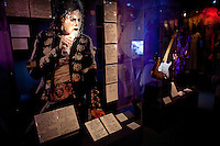 Michael Jackson memorabilia and lyrics on display at The Rock and Roll Hall of Fame Annex in New York City..(Photo by Robert Caplin)..
