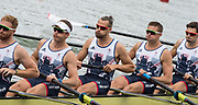 "Rio de Janeiro. BRAZIL.   GBR M8+. right to left, Matt GOTREL,  Pete REED, Paul BENNETT, Matt LANGRIDGE, William SATCH and Cox, Phelen HILL, moving away from the start at the 2016 Olympic Rowing Regatta. Lagoa Stadium,<br /> Copacabana,  ""Olympic Summer Games""<br /> Rodrigo de Freitas Lagoon, Lagoa.   Monday  08/08/2016 <br /> <br /> [Mandatory Credit; Peter SPURRIER/Intersport Images]"