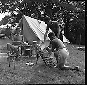 The All Ireland Scoutcraft Competition, the Melvin Trophy, at Larch Hill, Tibradden, Dublin. Larch Hill is the national campsite and administrative and training headquarters of Scouting Ireland.<br /> 27.08.1961