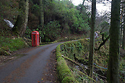 Phone box featured in movie 'I know where I'm Going' at Carsaig Bay, Isle of Mull, Scotland.
