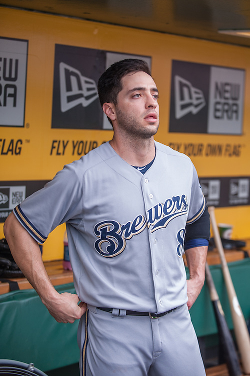 PITTSBURGH, PA - JUNE 08: Ryan Braun #8 of the Milwaukee Brewers looks on during the game against the Pittsburgh Pirates at PNC Park on June 8, 2014 in Pittsburgh, Pennsylvania. (Photo by Rob Tringali) *** Local Caption *** Ryan Braun