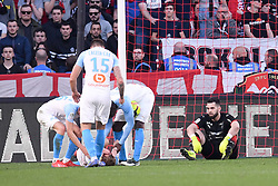 February 24, 2019 - Rennes, France - 28 VALERE GERMAIN (OM) - BLESSURE - JOIE - 40 TOMAS KOUBEK (REN) - DECEPTION - FAIR PLAY (Credit Image: © Panoramic via ZUMA Press)