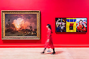 Philip James de Loutherbourg's The Battle of the Nile 1800 with Malcolm Morley's Trafalgar – Waterloo 2013 - Fighting History, an exhibition celebrating the enduring significance and emotional power of British history painting at the Tate Britain. The exhibition looks at how artists have transformed significant events into paintings that encourage us to reflect on our own place in history. The works in the show range from huge oil paintings from the 18th century to a recent work by Malcolm Morley which includes a canon from HMS Victory protruding from the canvas. Highlights include: John Singleton Copley's The Death of Major Peirson, 6 January 1781 1783, a dramatic battle scene which is approximately 4 metres wide by 3 metres high; Dexter Dalwood's famous work The Poll Tax Riots 2005 which shows a sea of angry protesters surging down Whitehall towards Big Ben; Allen Jones' The Battle of Hastings 1961-2 juxtaposed with Philip James de Loutherbourg's The Battle of the Nile 1800; Malcolm Morley's Trafalgar – Waterloo 2013, a large triptych depicting Admiral Lord Nelson and the Duke of Wellington separated by a 3D cannon from the HMS Victory in the central panel. Fighting History is at Tate Britain from 9 June to 13 September 2015.