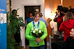 Vesna Fabjan at reception of Slovenia team arrived from Winter Olympic Games Sochi 2014 on February 19, 2014 at Airport Joze Pucnik, Brnik, Slovenia. Photo by Vid Ponikvar / Sportida