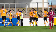 David McKenna is congrulated after putting Annan ahead - Arbroath v Annan Athletic in the SPFL League 2 at Gayfield, Arbroath. Photo: David Young<br /> <br />  - &copy; David Young - www.davidyoungphoto.co.uk - email: davidyoungphoto@gmail.com