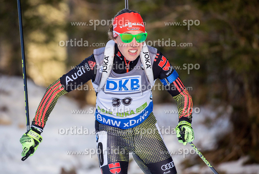 Laura Dahlmeier (GER) competes during Women 7,5 km Sprint at day 2 of IBU Biathlon World Cup 2015/16 Pokljuka, on December 18, 2015 in Rudno polje, Pokljuka, Slovenia. Photo by Vid Ponikvar / Sportida