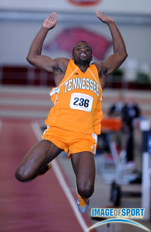 Mar 14, 2008; Fayetteville, AR, USA; Jangy Addy of Tennessee sailed 22-6 1/2 (6.87m) in the NCAA indoor track and field championships at the Randal Tyson Center. Addy was fourth with 5,776 points.