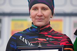 Alena Amialiusik (BLR) of CANYON//SRAM Racing celebrates winning the most active rider's prize after the Trofeo Alfredo Binda - a 131,1 km road race, between Taino and Cittiglio on March 18, 2018, in Varese, Italy. (Photo by Balint Hamvas/Velofocus.com)
