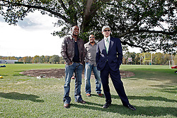 "October 8, 2009; Florham Park, NJ; USA; Floyd ""Money"" Mayweather(l) with manager Leonard Ellerbe, and NY Jets owner Woody Johnson (r) watches the New York Jets Practice in Florham Park, NJ."