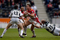 Photo: Jed Wee.<br /> Hull v Wigan Warriors. Engage Super League. 30/04/2006.<br /> <br /> Wigan's Bryan Fletcher is tackled.