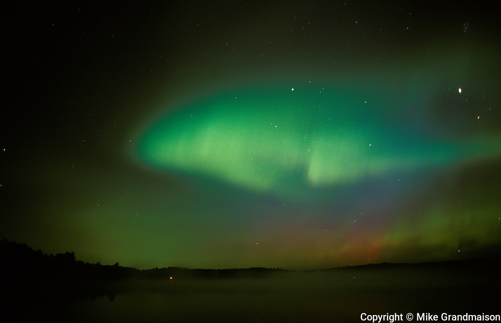 Northern lights or aurora borealis at Tilton Lake<br /> Sudbury<br /> Ontario<br /> Canada