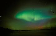 Northern lights or aurora borealis at Tilton Lake<br /> Sudbury<br /> Ontario<br /> Canada