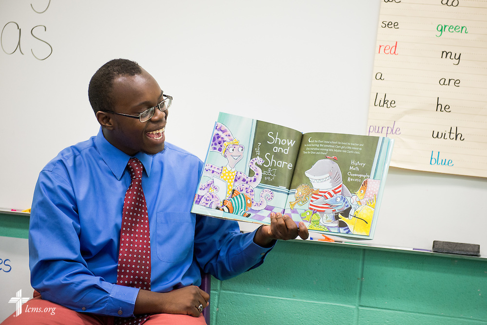 Teacher Jonathan Clausell reads a story to his class at Trinity Evangelical Lutheran School on Monday, April 7, 2014, in Mobile, Ala. LCMS Communications/Erik M. Lunsford