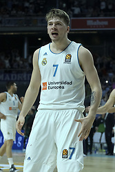 April 27, 2018 - Madrid, Spain - LUKA DONCIC  of Real Madrid celebrates the victory during the Turkish Airlines Euroleague Play Offs Game 4 between Real Madrid v Panathinaikos Superfoods Athens at Wizink Center on April 27, 2018 in Madrid, Spain Photo: Oscar Gonzalez/NurPhoto  (Credit Image: © Oscar Gonzalez/NurPhoto via ZUMA Press)