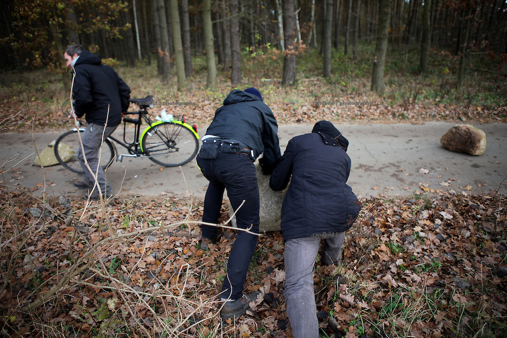 1000 anti-nuclear activists protested in the Göhrde Woods near Leitstade against a recent high radiactive waste transport to Gorleben. log barricades were set up on almoste every driveway trough the forest to avoid police from moving. Riot police broke up the protest by water canons.