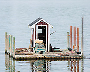 A floating fishing shack off Beals Island, Maine.