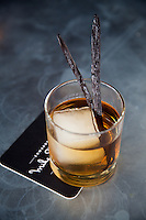 The High Rise Cocktail at Mike Shannon's Grill in Edwardsville MO features house-smoked ice, vanilla bean and bourbon.