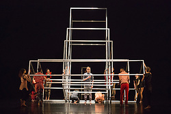 © Licensed to London News Pictures. 10/04/2015. London, England. Dress rehearsal of Frame[d]. The National Youth Dance Company returns to Sadler's Wells to premiere Frame[d], a new work created by the 2014-15 Guest Artistic Director Sidi Larbi Cherkaoui. The performance takes place on 10 April 2015 with dancers of the ages from 15 to 20. Photo credit: Bettina Strenske/LNP