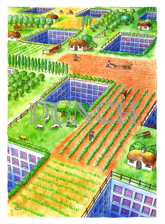(cultivated landscape with buildings underground)