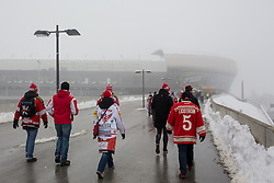 03.01.2015, Klagenfurter Wörthersee Stadion, Klagenfurt, AUT, EBEL, EC KAC vs EC VSV, 35. Runde, in picture Fans arriving to the stadium before the Erste Bank Icehockey League 35. Round between EC KAC and EC VSV at the Klagenfurter Wörthersee Stadion, Klagenfurt, Austria on 2015/01/03. Photo by Matic Klansek Velej / Sportida